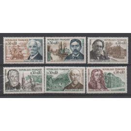 France 1966: Série sur les célébrités, timbres à surtaxe N° 1470 à 1475.