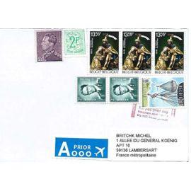 Belgique, très belle enveloppe - timbres 1066 de 1958 - baudoin, 1443 de 1968 lion héraldique, 431 de 1936 léopold 3, 1135 de 1960 parachutisme, 1783 de 1975 retable église de geel, TBE