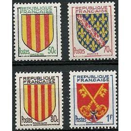 france 1955, très belle série complète armoiries, yv. 1044 comté de foy, 1045 marche, 1046 roussillon, 1047 comtat venaissin, neufs** luxe