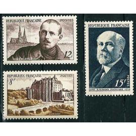 France - joli lot 1950 : 864 Raymond Poincaré (1860-1934), président de la République, 865 Charles Peguy, 873 Château de Châteaudun, neufs** luxe