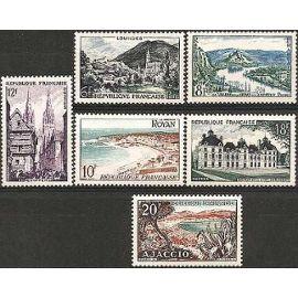france 1954, très belle série complète paysages, yvert 976 lourdes, 977 vallée de la seine, 978 royan, 979 quimper, 980 chateaux de la loire - cheverny, 981 ajaccio, neufs** luxe