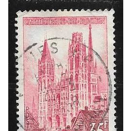 Timbre oblitéré de 1957,n°1129.Cathédrale de Rouen.