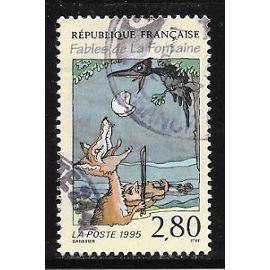 Timbre oblitéré de 1995,n°2961.Le corbeau et le renard.