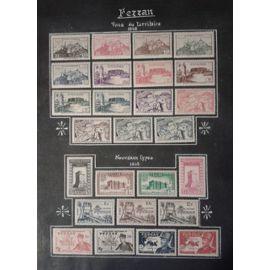 Lot 34 timbres Fezzan YT n°28 à 53 (1946 et 49), Poste aérienne 6 et 7 (19501) et Timbres Taxe 6 à 11 (1950)