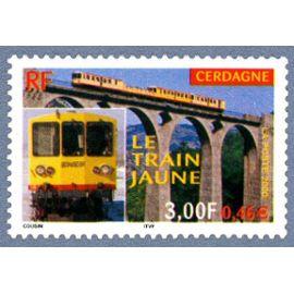france 2000, très bel exemplaire yvert 3338, le train jaune de cerdagne, neuf** luxe