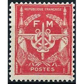 france 1946 / 48, très bel exemplaire yvert 12, timbre de franchise militaire, glaive, ailes et ancres de marine sur fond rouge, sans valeur faciale, neuf** luxe