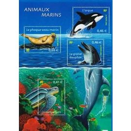 france 2002, très beau bloc feuillet n° 48, animaux marins, comprenant les timbres 3485 tortue, 3485 dauphin, 3486 orque et 3487 phoque veau marin, neuf** luxe