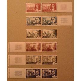 12 Timbres France Célébrités 1970 Yvert et Tellier n°1623, 1624, 1625, 1626, 1627 et 1628 (1 paire horizontale de chaque) Bord de Feuille (sauf 1625)