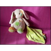 Doudou Lapin Mouchoir Auchan Peluche Beige Rose Orange Vert A Pois Multicolor