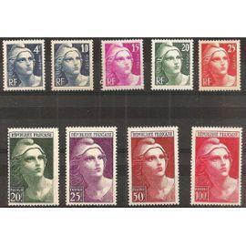 france 1945, très belle série complète marianne de gandon en taille douce, yvert 725 à 733, neufs** luxe