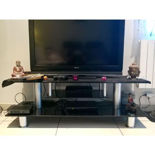 meuble tv verre noir conforama
