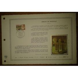 Document Artistique philatélique Cérès 1977 Feuillet n°285 Timbre France YT n°1938 Abbaye de Fontenay Oblitéré premier jour 4 Juin 1977