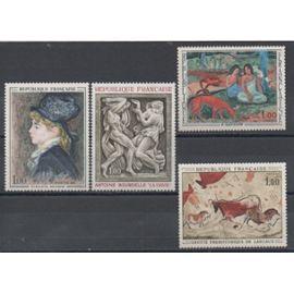 France 1968: Lot de 4 timbres représentant des oeuvres d