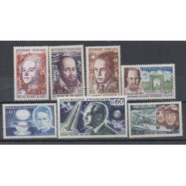 France 1967: Lot de 7 timbres représentant des personnages célèbres, émis en 1967, N° 1512, 1513,1514, 1523, 1526, 1527 et 1533