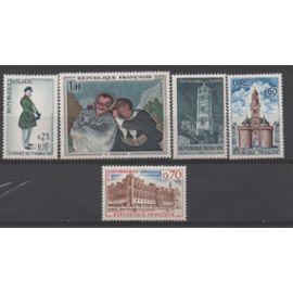 France: Lot de 5 timbres émis en 1966 et 1967, N°  1494, 1500, 1501, 1504 et 1516.