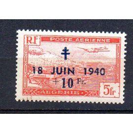 Algérie-  timbre neuf- Tbe- Poste aérienne- Avion survolant la Baie d