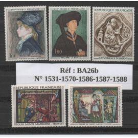 France: Lot de 5 timbres représentant des oeuvres d