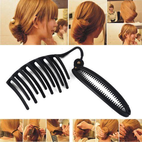 Pince Cheveux Pour Chignon Special Cheveux Longs Noir Peigne Pic Coiffure Rapide Rakuten