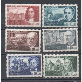 France 1970: Série de 6 timbres sur des personnages célèbres, du N° 1623 au N° 1628, émis en 1970.