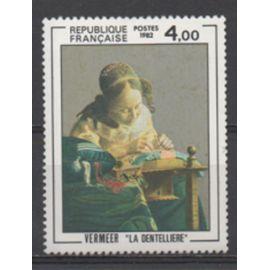 """France 1982: Timbre N° 2231 reproduisant une oeuvre de Vermeer, """"La Dentelière""""."""