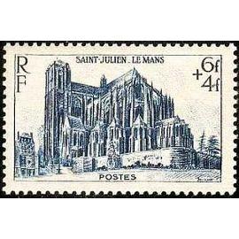 france 1947, très bel exemplaire yvert 775, cathédrale saint julien du mans, neuf** luxe