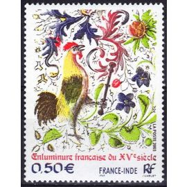 france 2003, très bel exemplaire neuf** luxe, yvert 3629, émission commune france inde, enluminure du XVème siècle, le coq.