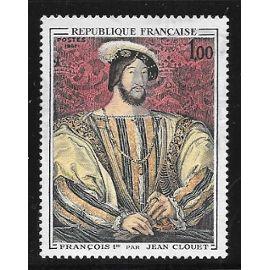 Timbre oblitéré de 1967,n°1518.Portrait de François Ie(1494-1547),par Jean Clouet(1475-1541).