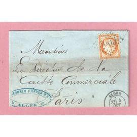 Timbre Classique Oblitéré De France Cérès - LETTRE N°38 - 40c orange - CàD Alger 4 octobre 1873 - Obl GC 5005