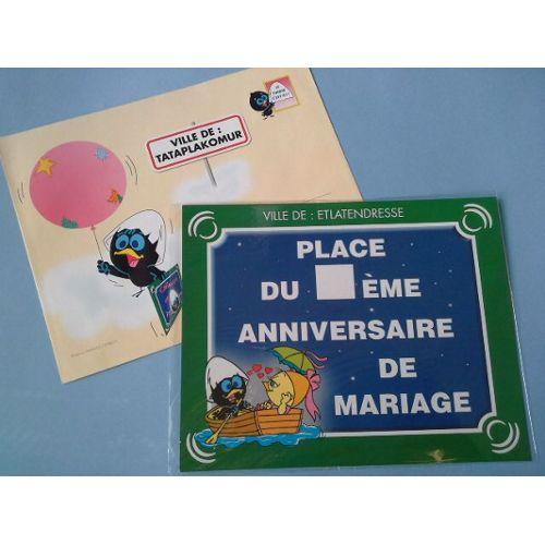 Carte Postale Geante Plaque Rue Diplome Place Du Eme Anniversaire De Mariage Calimero Enveloppe Rakuten