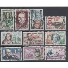 France de 1959 à 1967: Lot de 10 timbres représentant des personnages célèbres.