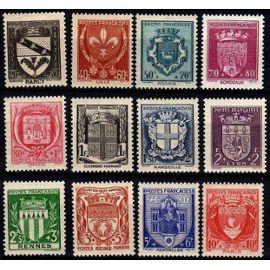 Série complète 12 blasons de villes 1941 neuf