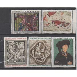France 1967 à 1969: Lot de 5 timbres représentant des oeuvres d