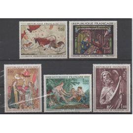 France de 1967 à 1970: Lot de 5 timbres représentant des oeuvres d