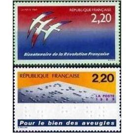 FRANCE NEUF 1989 BICENTENAIRE DE LA REVOUTION FOLON +POUR LE BIEN DES AVEUGLES 2560 2562