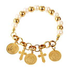 officiel mignon pas cher marque célèbre Bracelet Charms-Perle Fausse-Croix Médaille Ronde-Plaqué Or Jaune-Bijoux  Religieux - U7