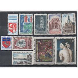 France 1966/1967: Lot de 10 timbres N° 1468,1481,1498,1499,1504,1505,1510,1525,1530,1531
