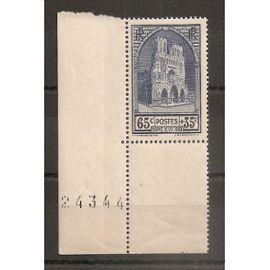 399 (1938) Cathédrale de Reims 65c+35c N** (cote 20e) (4659)