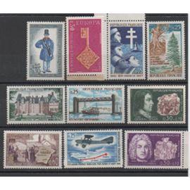 France 1967: Lot de 10 timbres neufs N° 1532,1549,1550,1551,1556,1559,1561,1562,1564,1565
