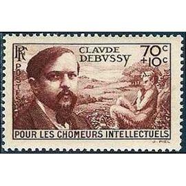 france 1939, au profit des chomeurs intellectuels, très bel exemplaire yvert 437, portrait de claude debussy, neuf** luxe