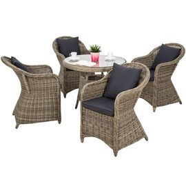 TECTAKE Salon de jardin ZURICH 4 Personnes 4 Fauteuils 1 Table Ronde en  Résine Tressée structure Aluminium Marron