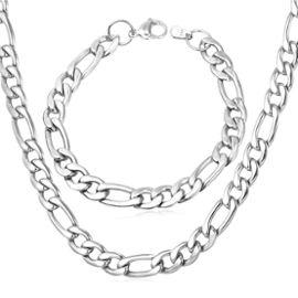 collier et bracelet en acier pour homme