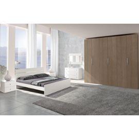 Chambre adulte complète GINGER chêne gris et blanc C30153GB