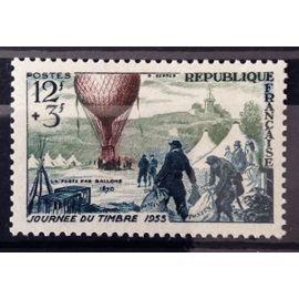 France - Journée Timbre 1955 - Ballon Poste 12f+3f (Magnifique n° 1018) Neuf* - Cote 3,60€ - N13155