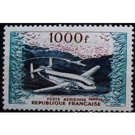 france 1954, très bel exemplaire neuf** luxe poste aérienne yvert 33, bréguet provence survolant le port d