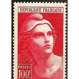France 1945, très bel exemplaire yvert 733, marianne de gandon grand format 100F. rouge, neuf** luxe