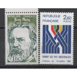 France 1982: Suite de 2 timbres commémoratifs N° 2214 et 2215.