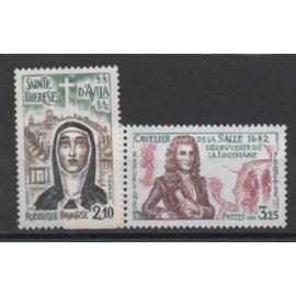 France: Lot de 2 timbres sur les personnages célèbres émis en 1982, N° 2249 et 2250