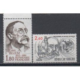 France 1982: Lot de 2 personnages célèbres émis en 1982, N° 2246 et 2251