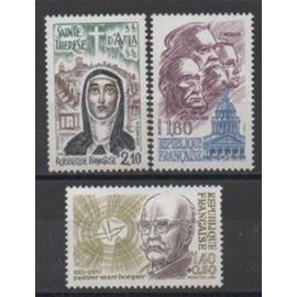 France 1981/1982: Lot de 3 timbres N° 2153 et 2172 et 2249 sur les personnages célèbres.