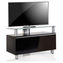 Vcm Meuble Tv Clano Laqué Noir Verre Noir